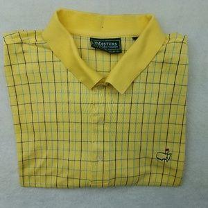 Masters Collection Yellow Checkered Golf Polo XL